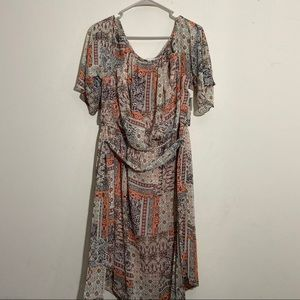 NWT Plus Size Vintage Print Pastel BOHO Dress